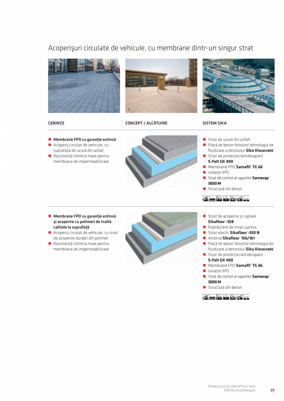 Pagina 39 - Tehnologia si conceptele SIKA pentru acoperisuri  Catalog, brosura Romana /m2...