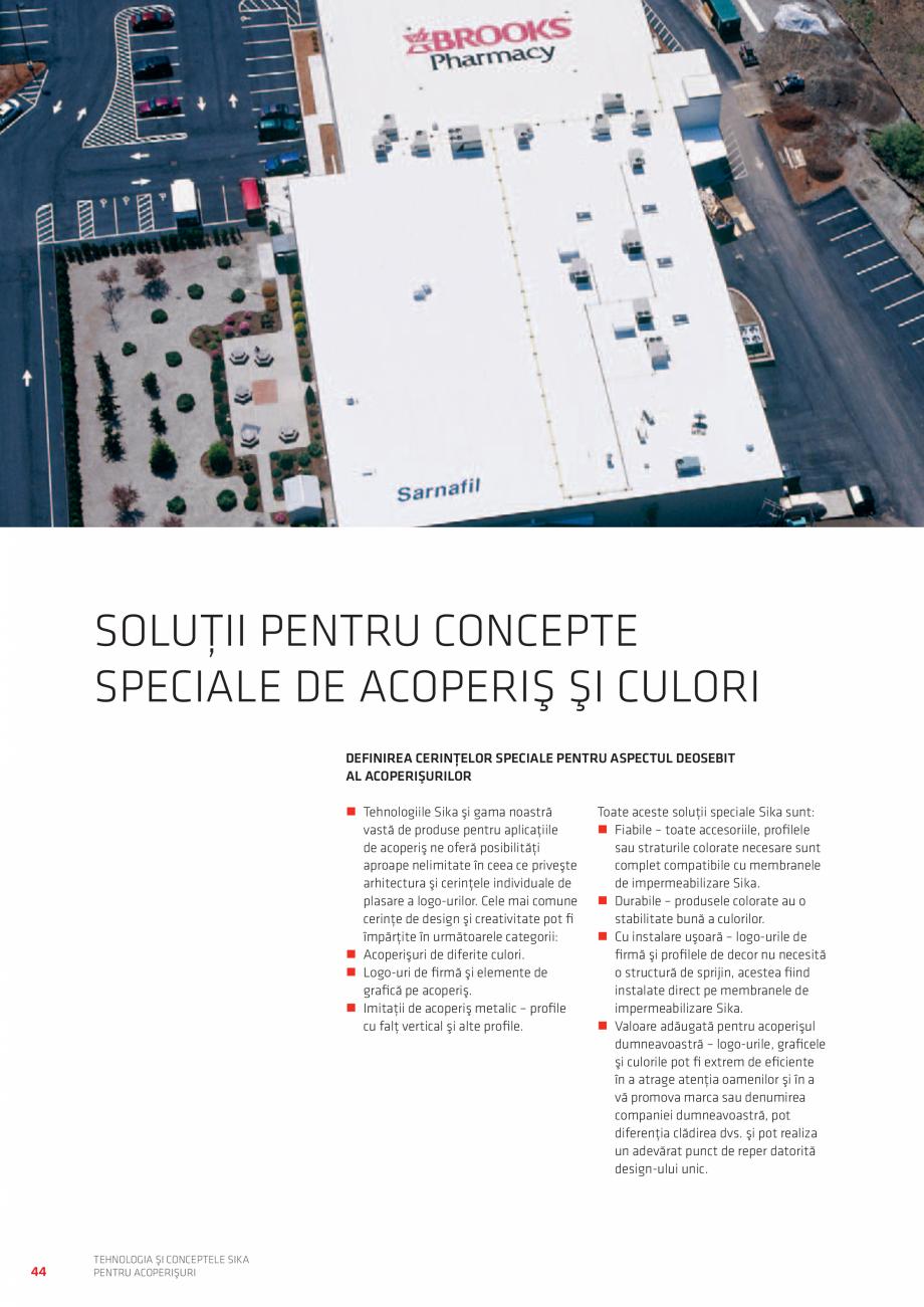Pagina 44 - Tehnologia si conceptele SIKA pentru acoperisuri  Catalog, brosura Romana aşe...