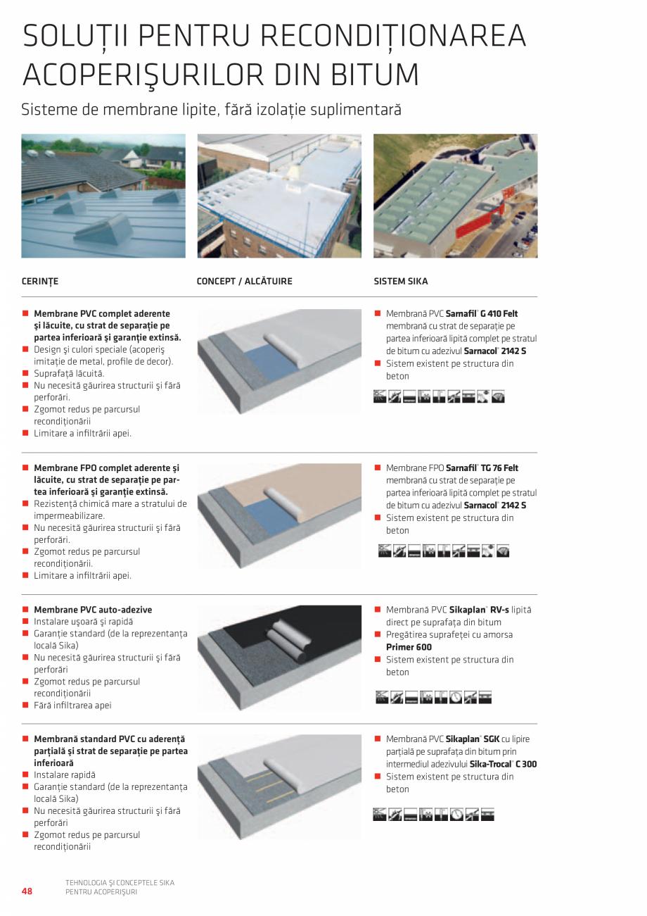 Pagina 48 - Tehnologia si conceptele SIKA pentru acoperisuri  Catalog, brosura Romana rezentanţa...