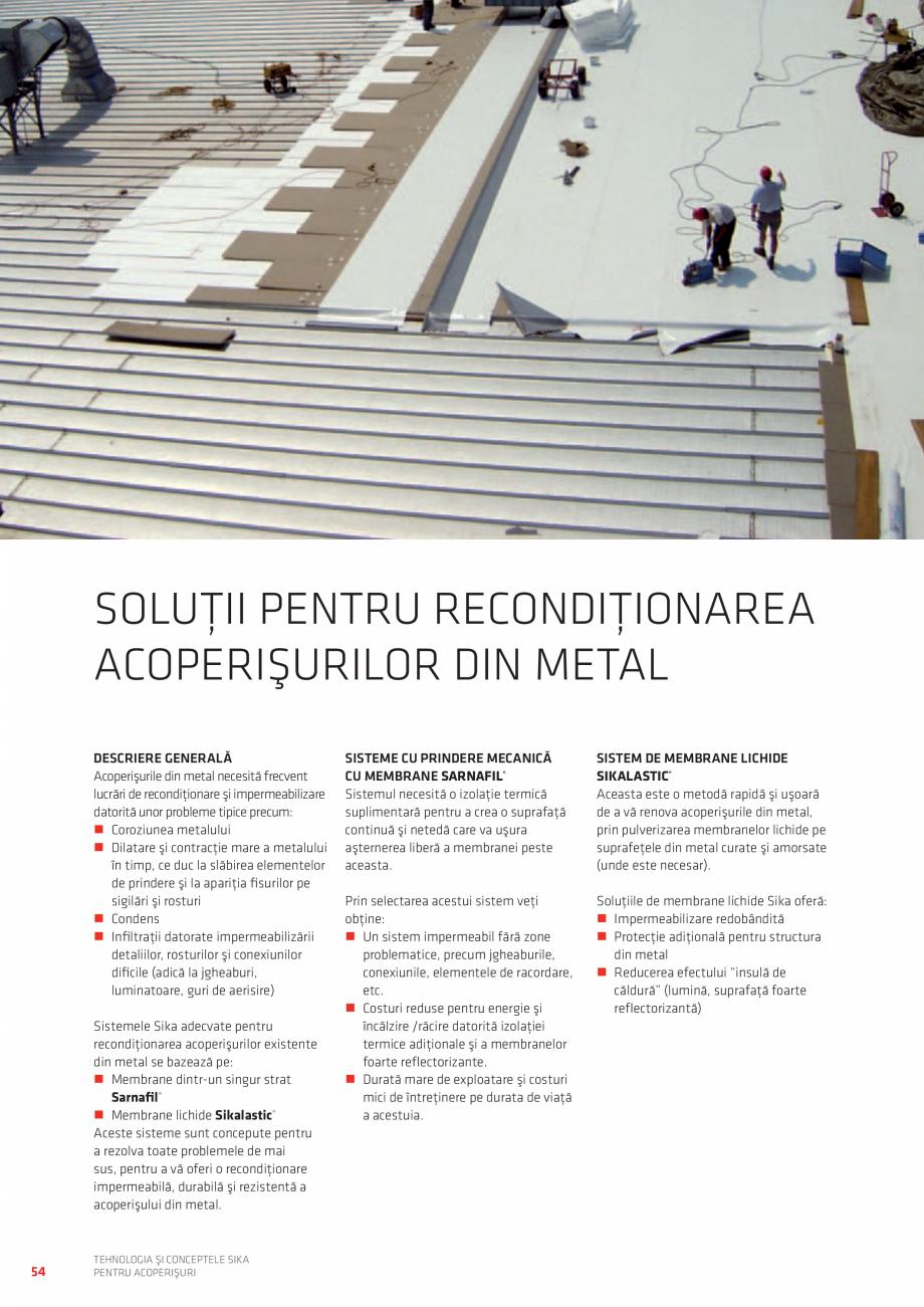 Pagina 54 - Tehnologia si conceptele SIKA pentru acoperisuri  Catalog, brosura Romana TRU...