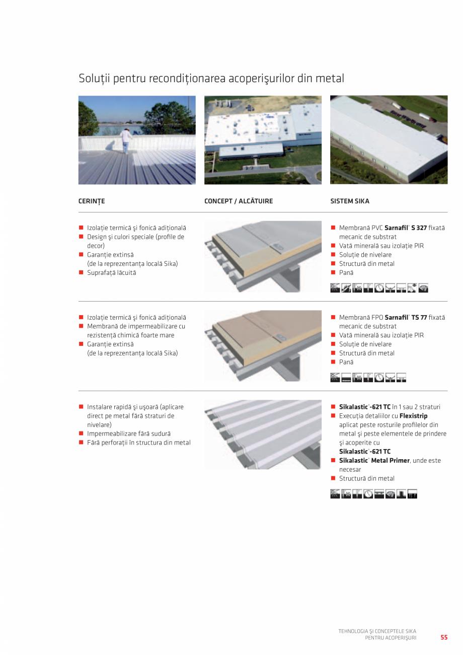 Pagina 55 - Tehnologia si conceptele SIKA pentru acoperisuri  Catalog, brosura Romana utilitar şi...