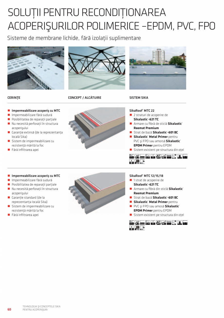 Pagina 60 - Tehnologia si conceptele SIKA pentru acoperisuri  Catalog, brosura Romana  Viscocrete® ...