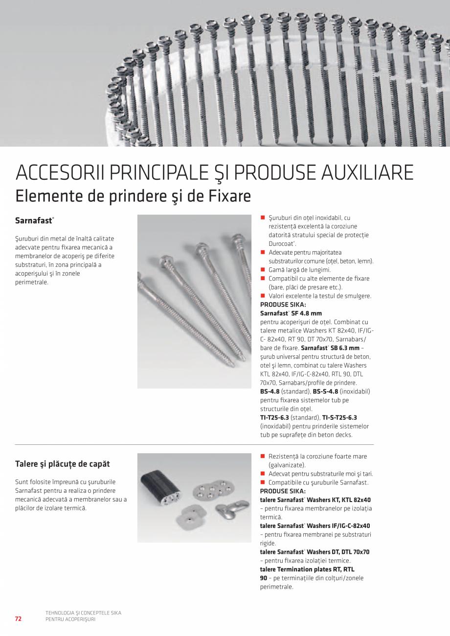 Pagina 72 - Tehnologia si conceptele SIKA pentru acoperisuri  Catalog, brosura Romana �Adezivi...