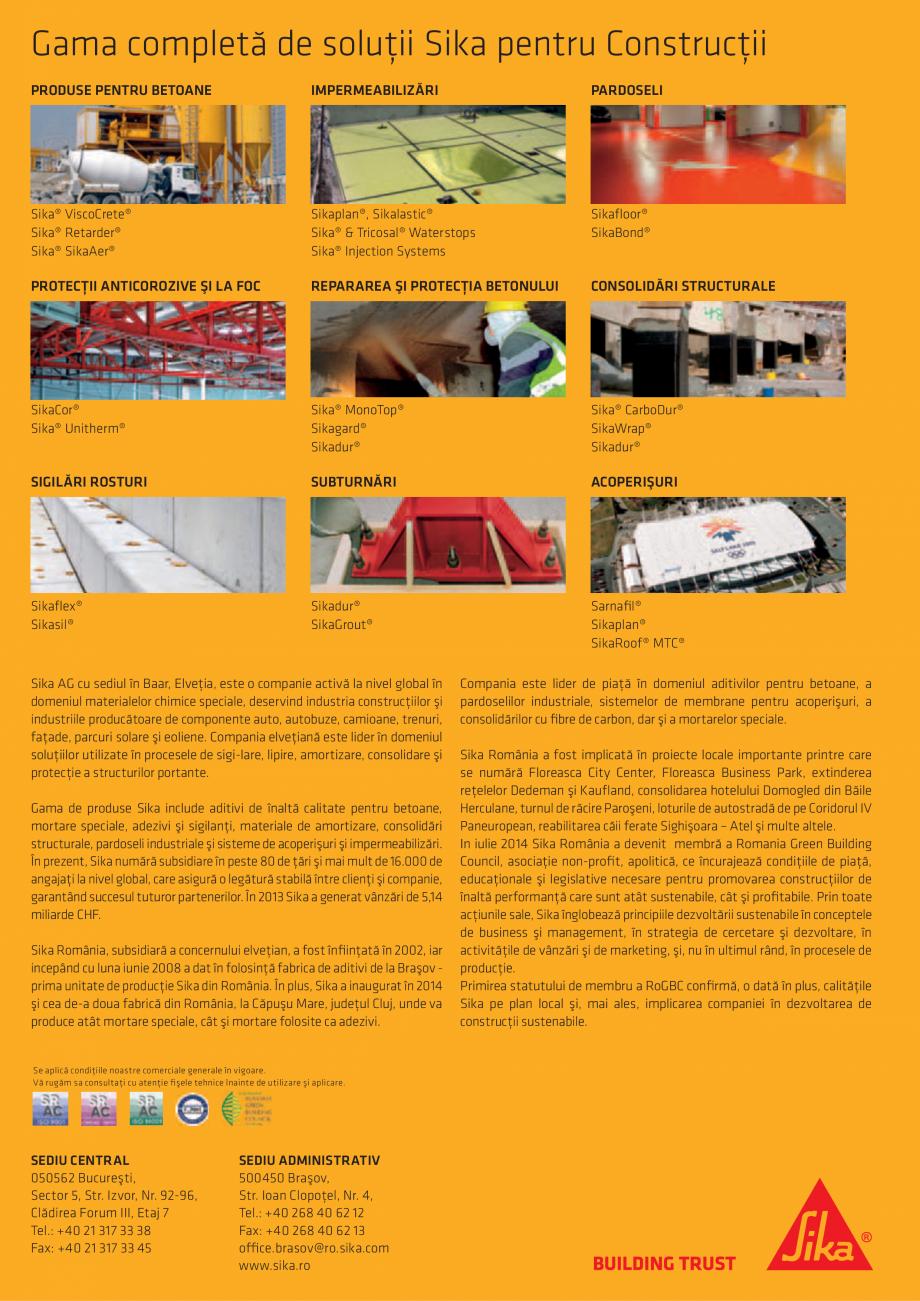 Pagina 88 - Tehnologia si conceptele SIKA pentru acoperisuri  Catalog, brosura Romana  adiţională ...