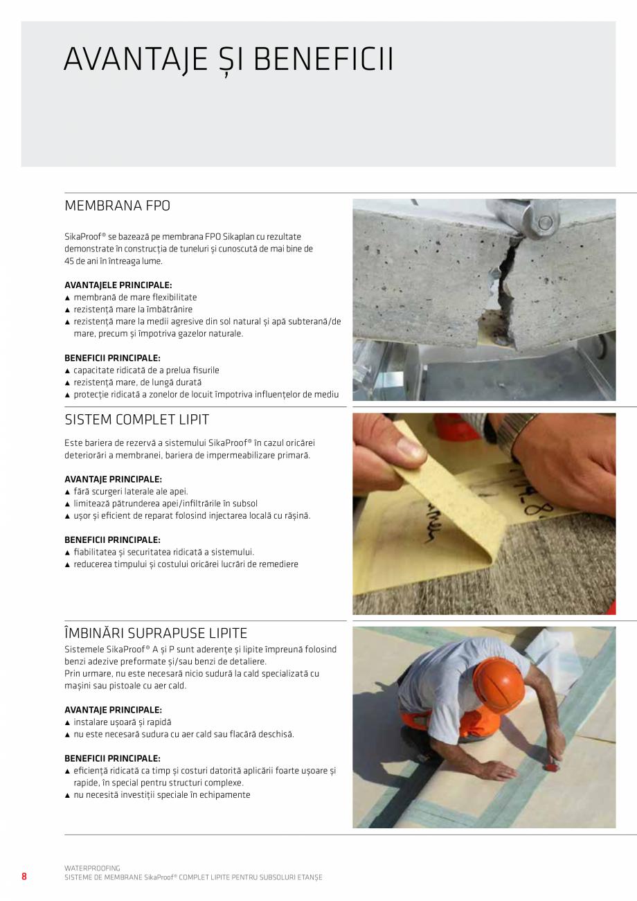 Pagina 8 - WATERPROOFING - Sisteme de membrane SikaProof® complet lipite pentru subsoluri etanse...