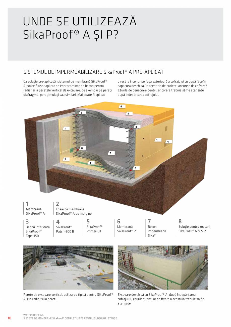Pagina 10 - WATERPROOFING - Sisteme de membrane SikaProof® complet lipite pentru subsoluri...