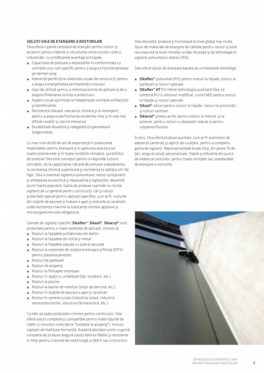 Pagina 5 - Tehnologia si Conceptele Sika privind etansarea rosturilor  Catalog, brosura Romana...