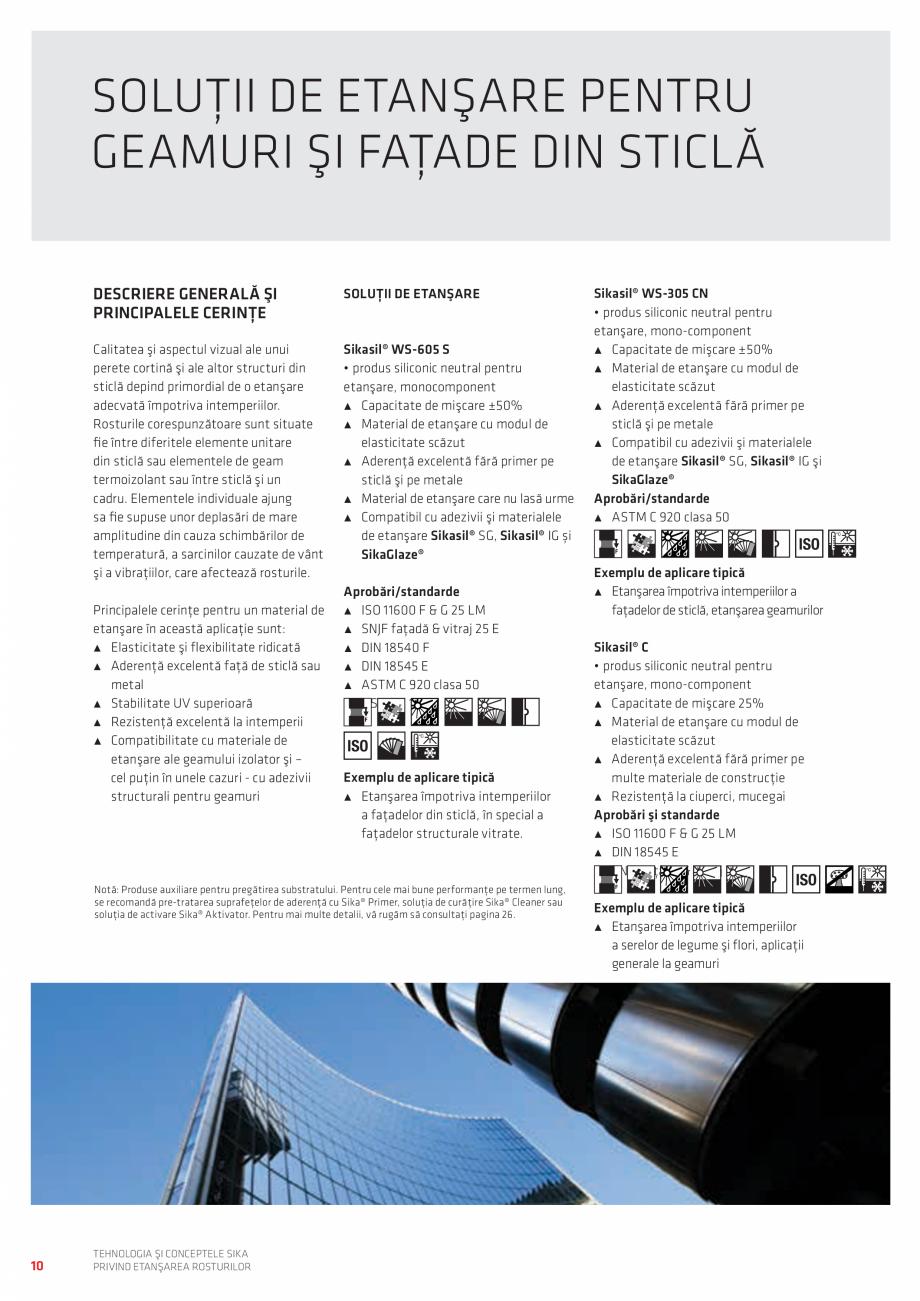 Pagina 10 - Tehnologia si Conceptele Sika privind etansarea rosturilor  Catalog, brosura Romana tc.)...