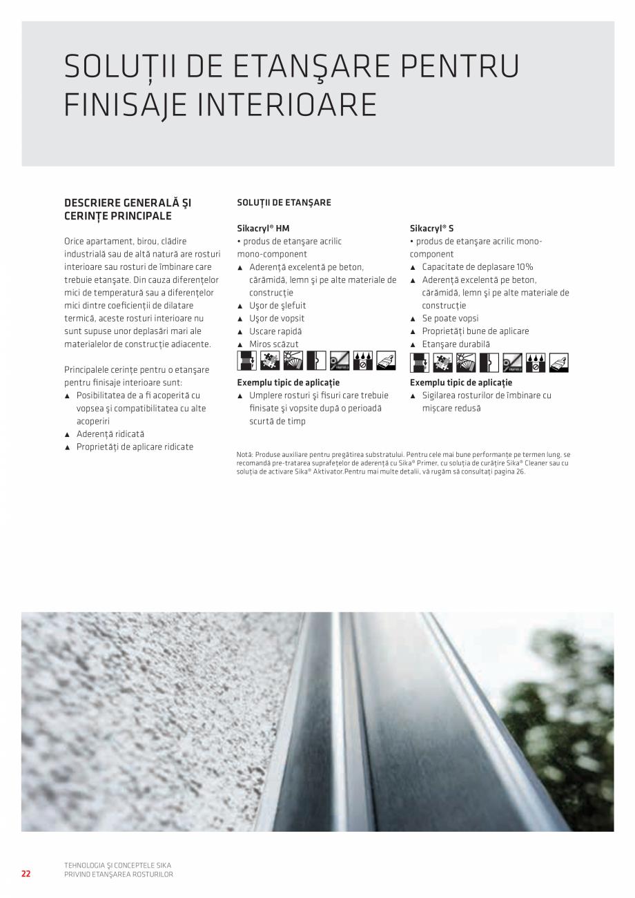 Pagina 22 - Tehnologia si Conceptele Sika privind etansarea rosturilor  Catalog, brosura Romana ă...
