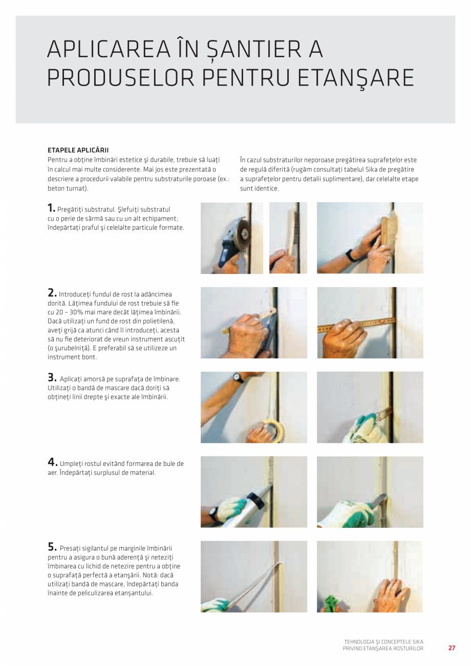 Pagina 27 - Tehnologia si Conceptele Sika privind etansarea rosturilor  Catalog, brosura Romana...