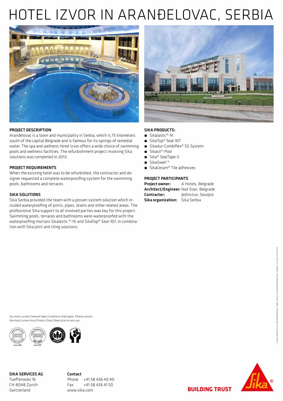 Pagina 2 - Sika at Work -  Impermeabilizare Hotel Izvor - Arandelovac, Serbia SIKA SikaTop®...