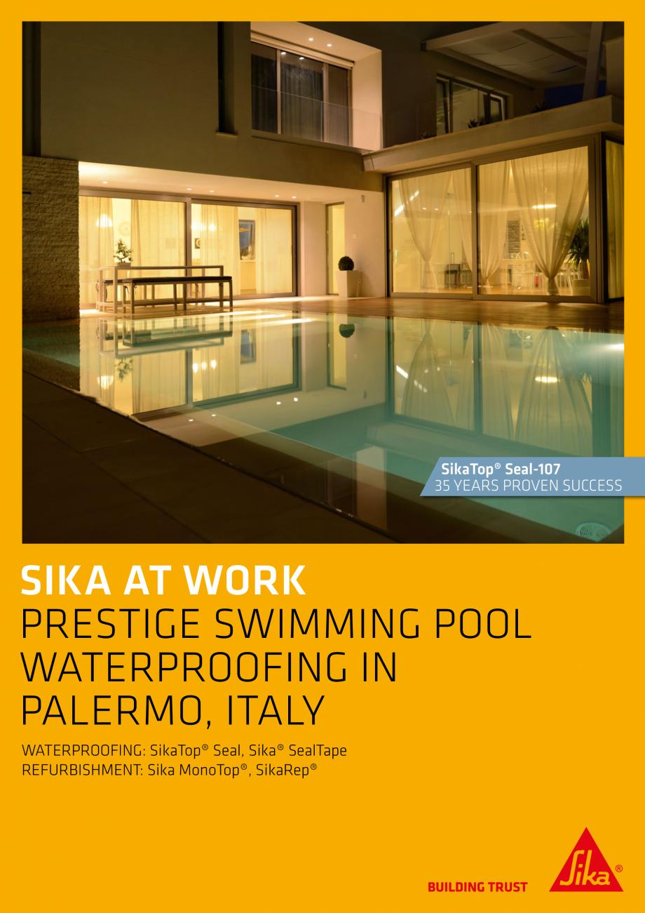 Pagina 1 - Sika at Work - Piscina Prestige - Palermo, Italy SIKA SikaTop®Seal-107 Lucrari,...