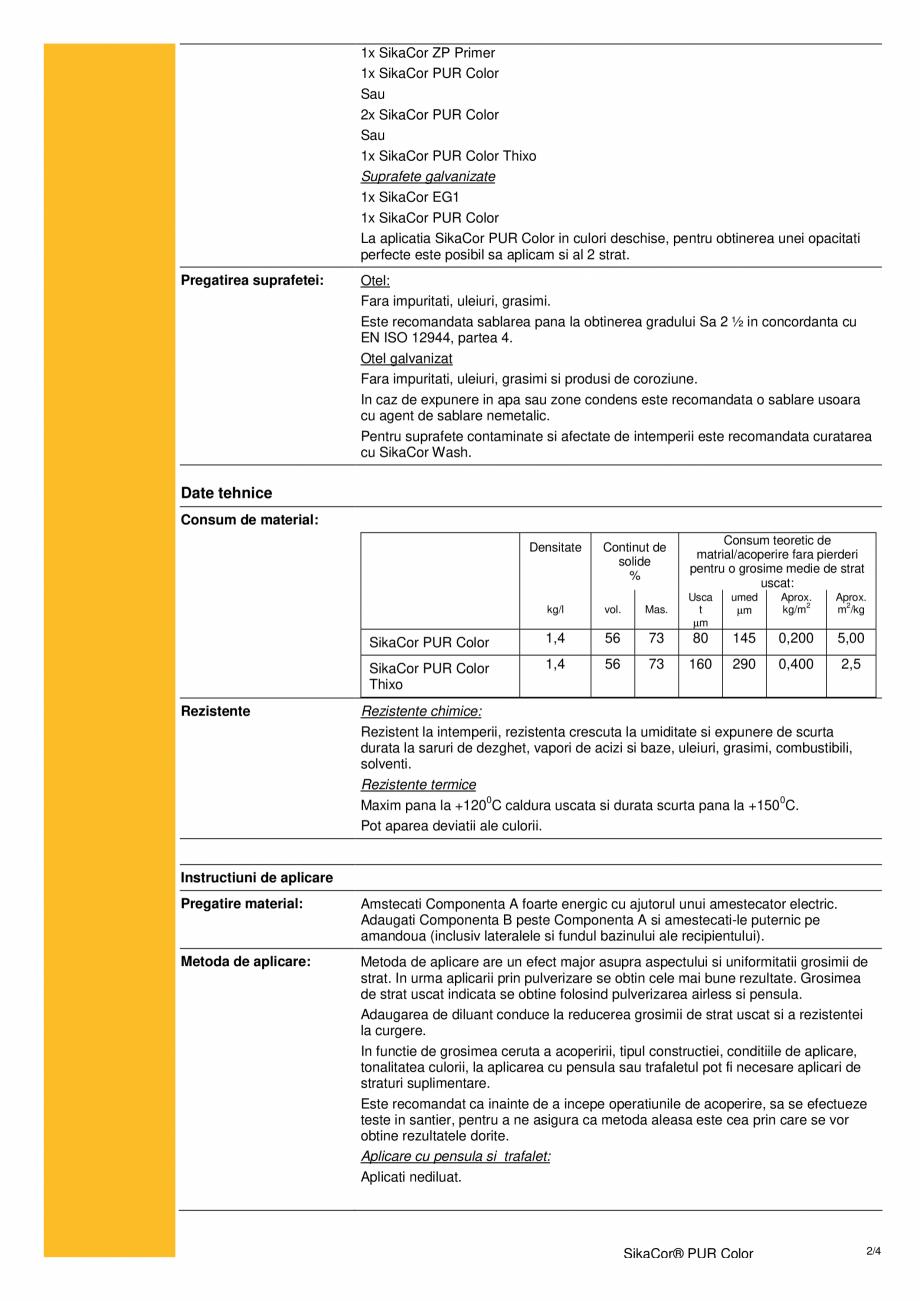 Pagina 2 - Acoperire poliuretanica bicomponenta pentru structuri din otel SIKA SikaCor® PUR...