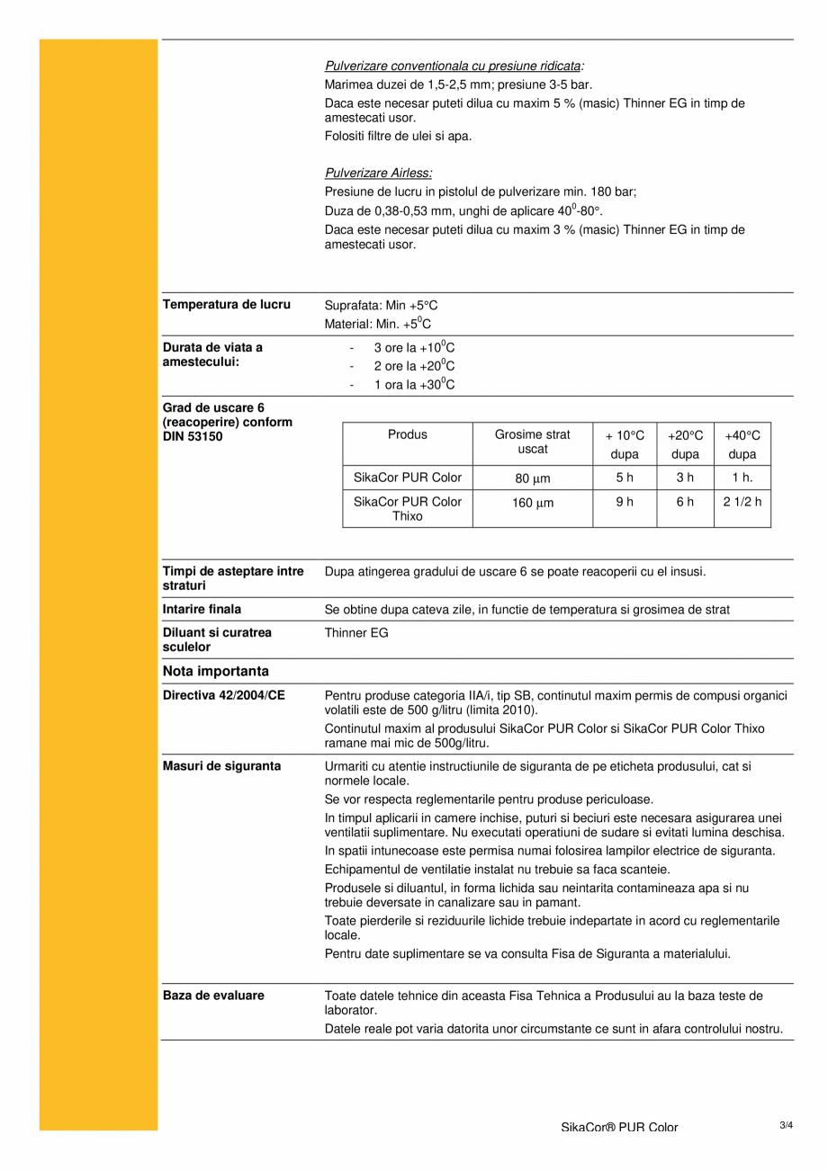 Pagina 3 - Acoperire poliuretanica bicomponenta pentru structuri din otel SIKA SikaCor® PUR...