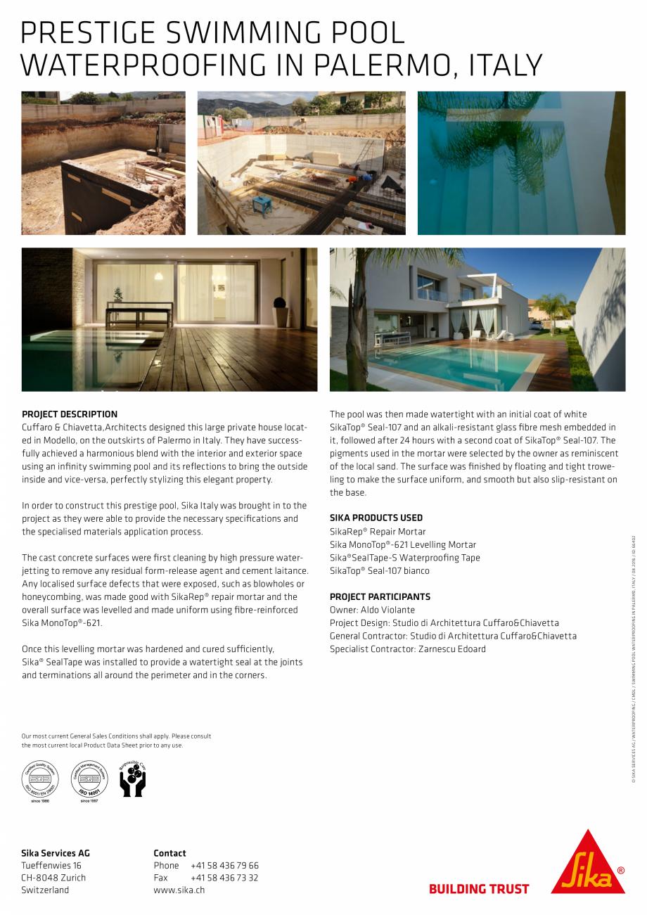 Pagina 2 - Sika at Work - Piscina Prestige - Palermo, Italy SIKA SikaTop®Seal-107 (Gri) Lucrari,...