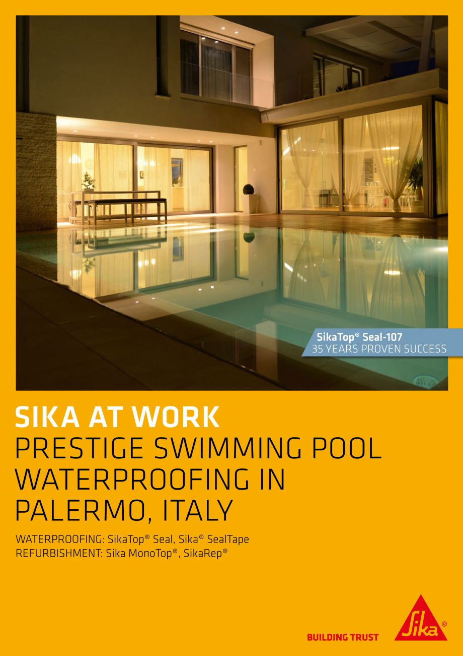 Pagina 1 - Sika at Work - Piscina Prestige - Palermo, Italy SIKA Lucrari, proiecte Engleza SikaTop®...