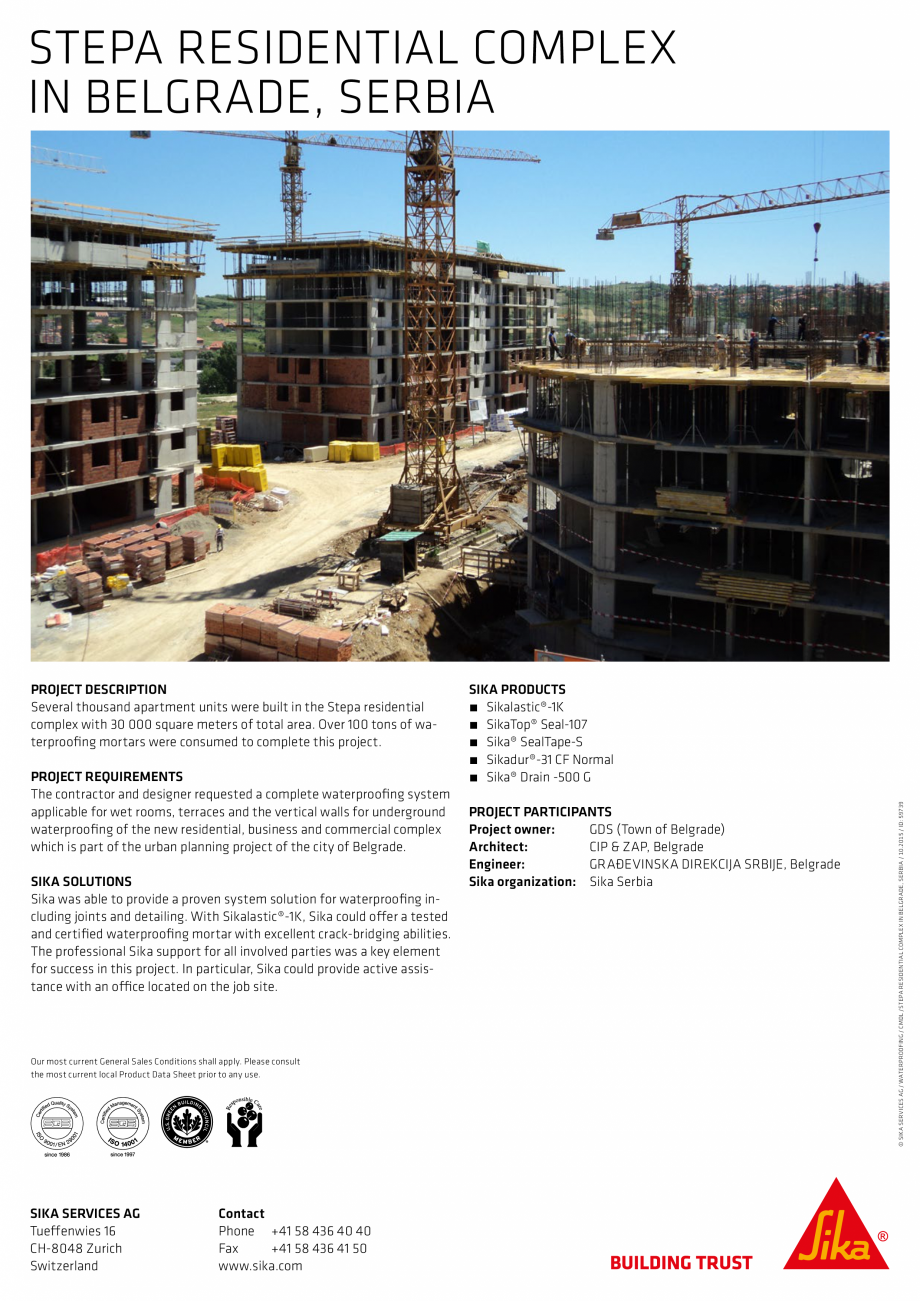 Pagina 2 - Sika at Work - Impermeabilizare Complex Stepa Stepanovic Residential - Serbia SIKA...