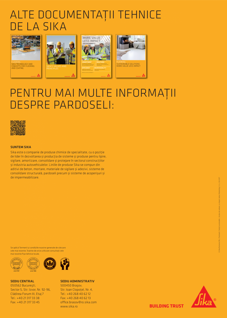Pagina 4 - Pardoseli Sika - Solutii sustenabile un plus de valoare, impact redus SIKA Sikafloor®...