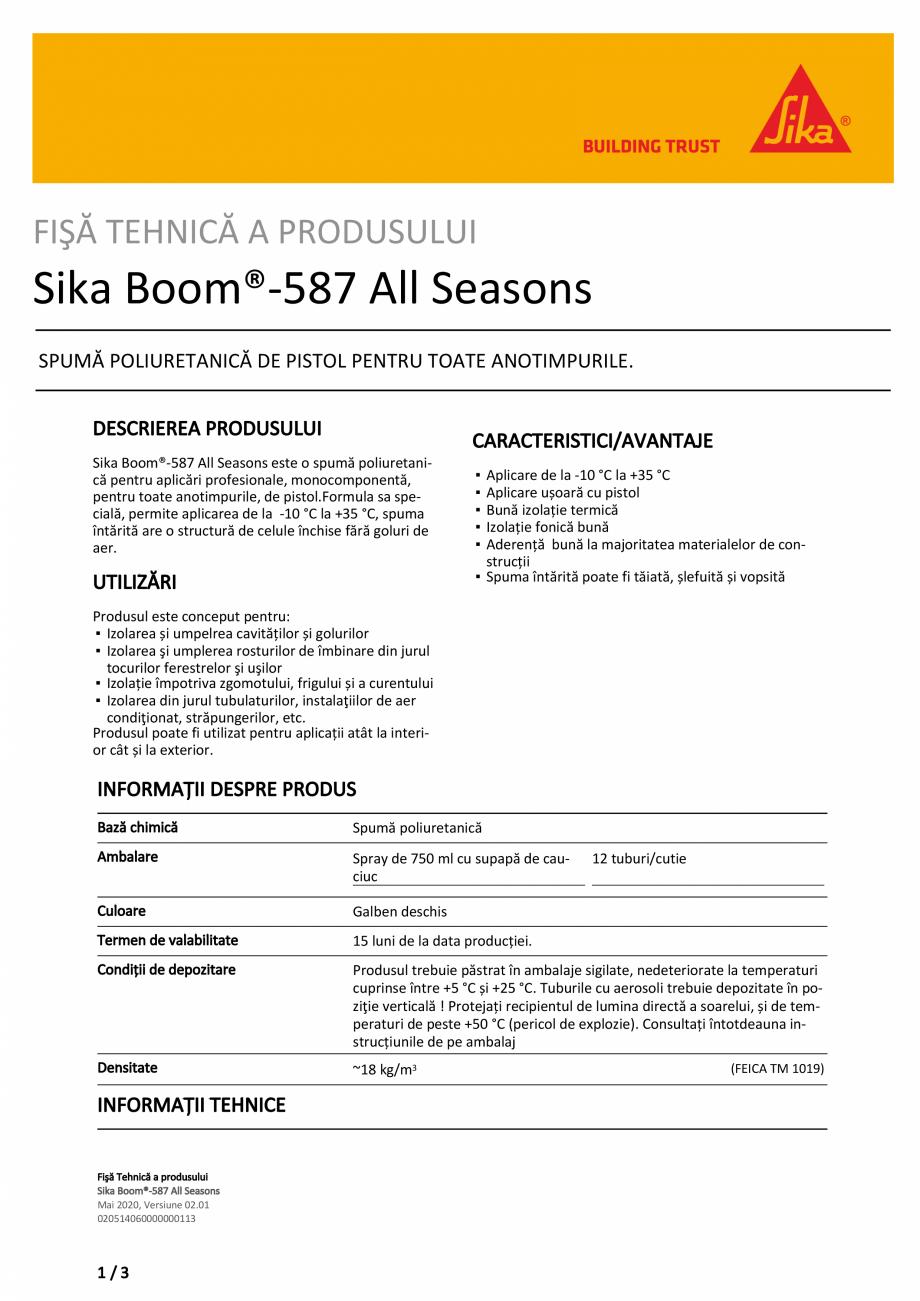 Pagina 1 - Spuma poliuretanica pentru aplicari profesionale SIKA Sika Boom®-587 All seasons Fisa...