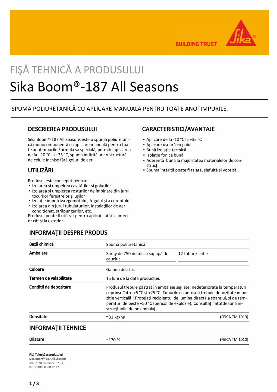 Pagina 1 - Spuma poliuretanica monocomponenta SIKA Sika Boom®-187 All seasons Fisa tehnica...