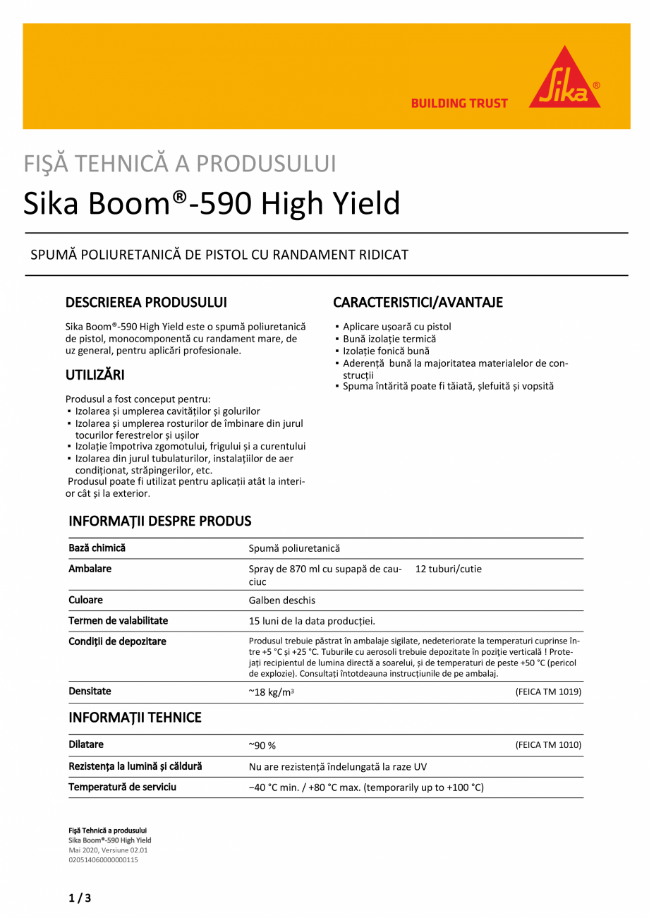 Pagina 1 - Spuma poliuretanica de pistol SIKA Sika Boom®-590 High Yield Fisa tehnica Romana...