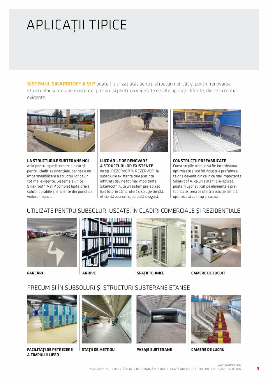 Pagina 3 - Sisteme pentru hidroizolarea structurilor subterane din beton SIKA Catalog, brosura...