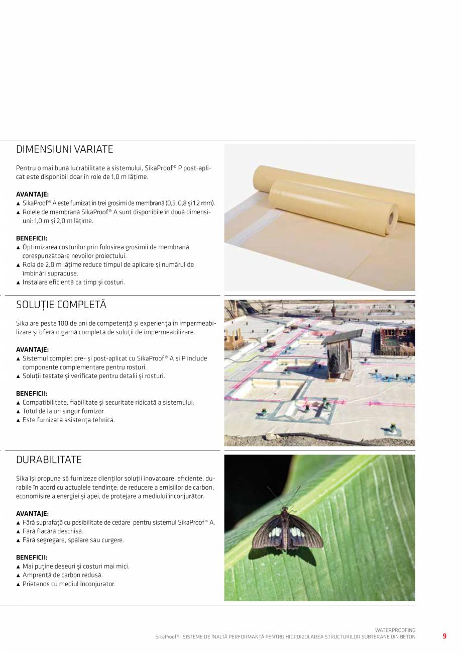 Pagina 9 - Sisteme pentru hidroizolarea structurilor subterane din beton SIKA Catalog, brosura...