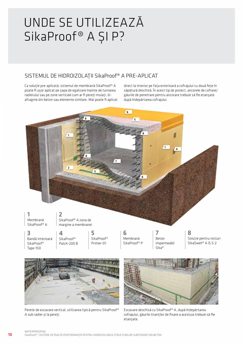 Pagina 10 - Sisteme pentru hidroizolarea structurilor subterane din beton SIKA Catalog, brosura...
