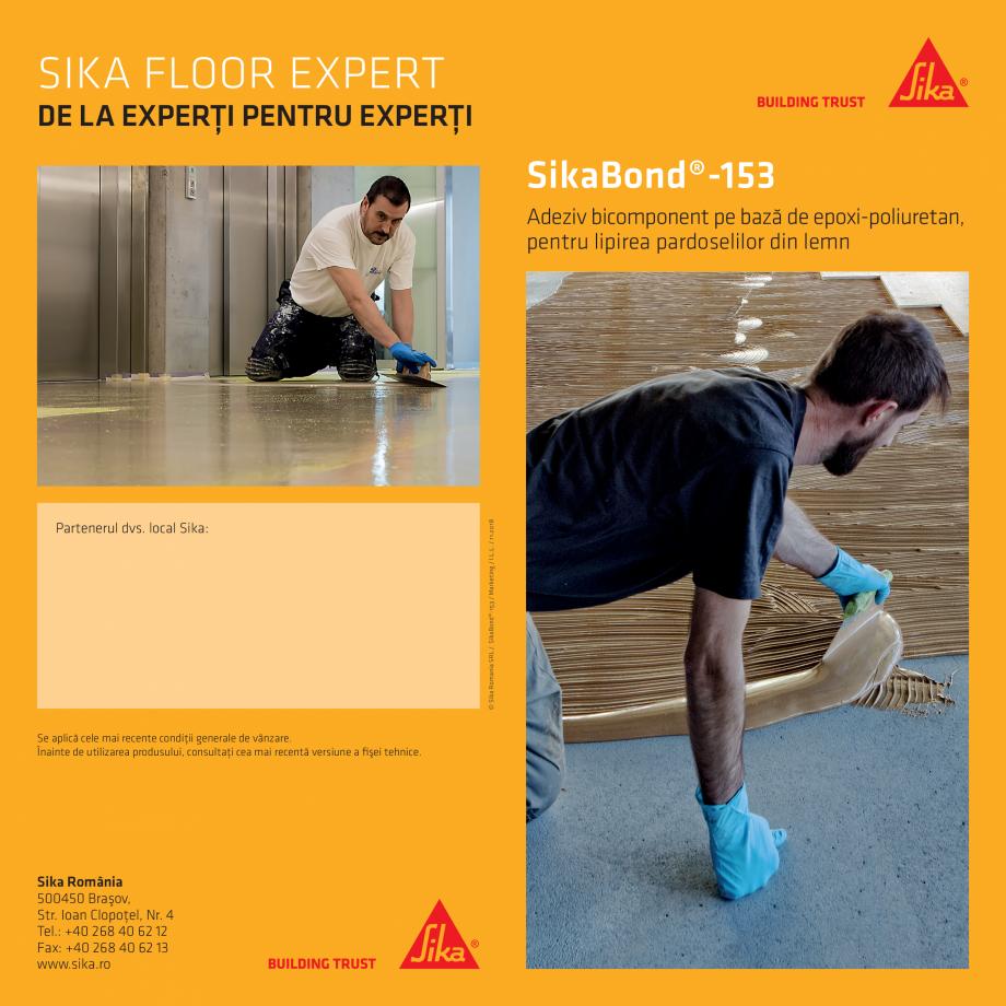 Pagina 1 - Adeziv pentru lipirea pardoselilor din lemn  SIKA SikaBond®-153 Fisa tehnica Romana...