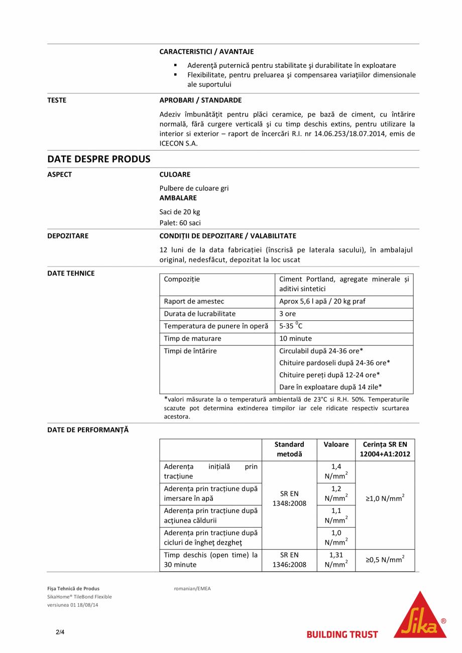 Pagina 2 - Adeziv flexibil pentru placari in pat subtire SIKA SikaHome® Tilebond Flexible Fisa...
