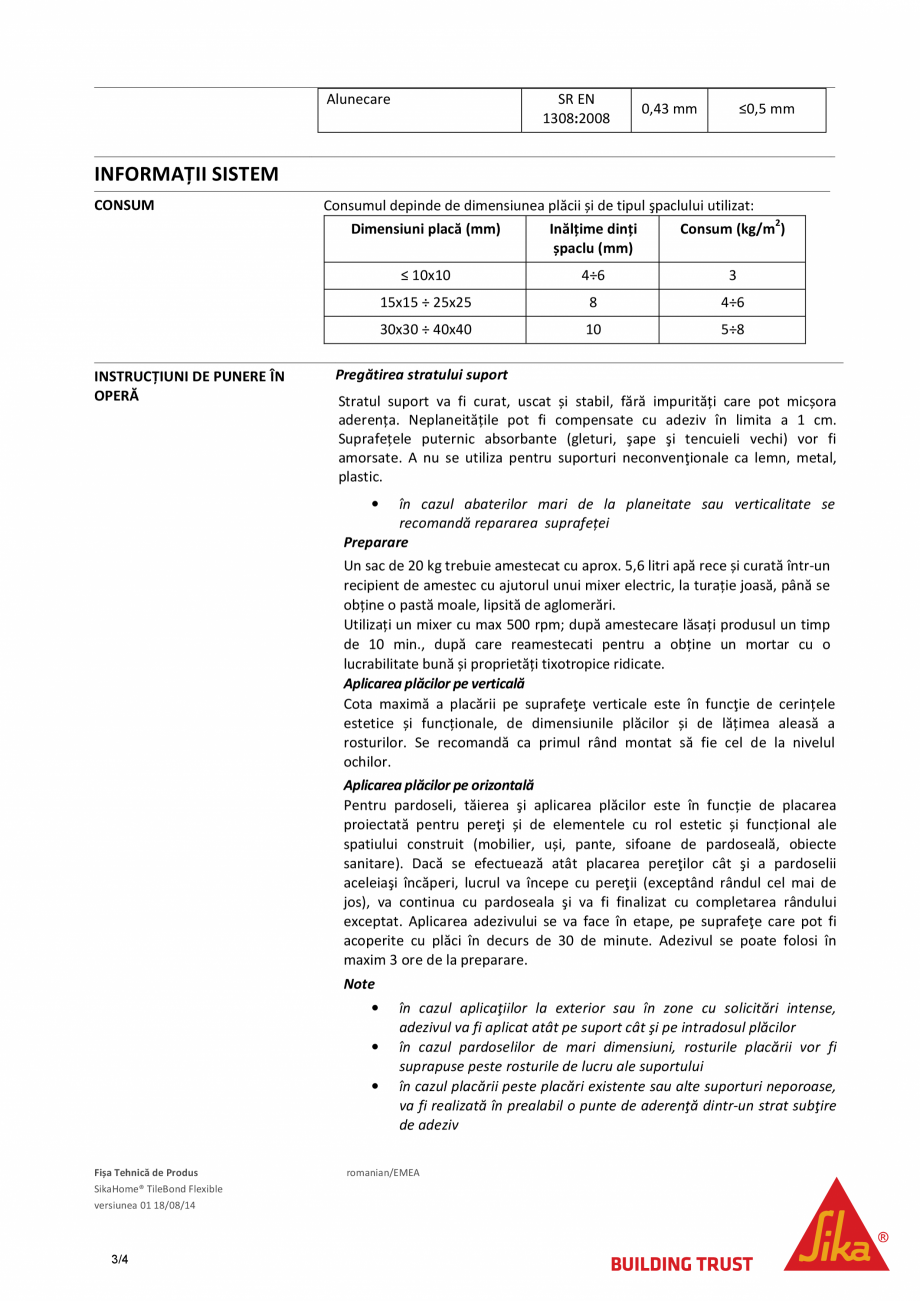 Pagina 3 - Adeziv flexibil pentru placari in pat subtire SIKA SikaHome® Tilebond Flexible Fisa...