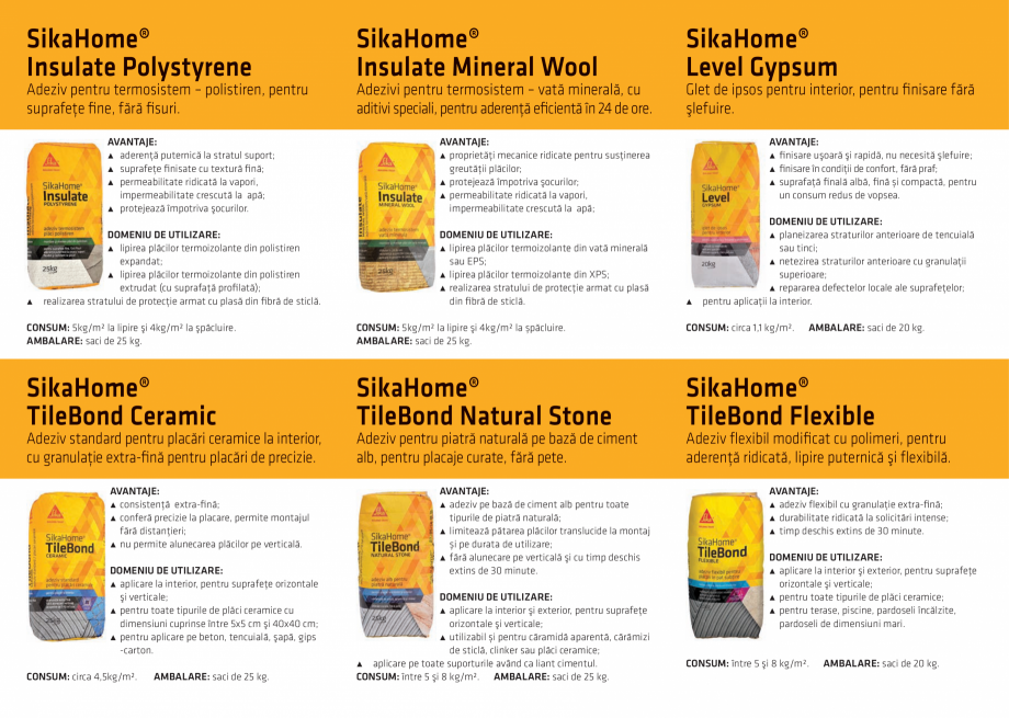 Pagina 2 - Adezivi si mortare specializate pentru finisarea casei SIKA SikaHome® Finish...