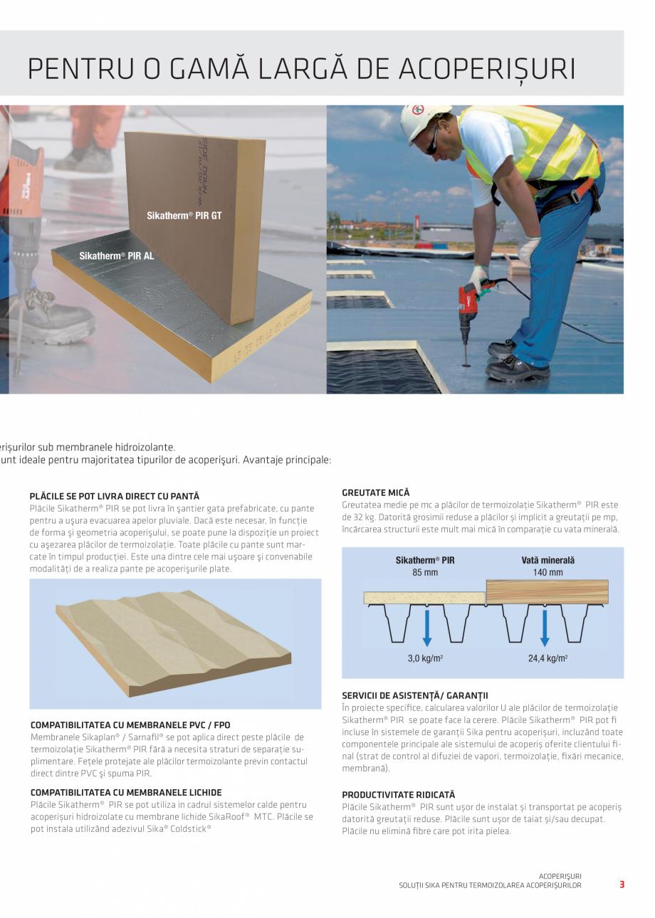 Pagina 3 - Solutii certifificate pentru hidroizolarea acoperisurilor SIKA Sikatherm® PIR AL,...