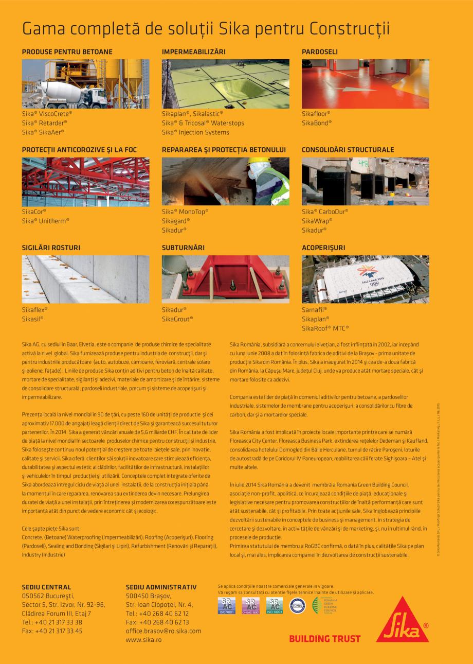 Pagina 4 - Solutii certifificate pentru hidroizolarea acoperisurilor SIKA Sikatherm® PIR AL,...