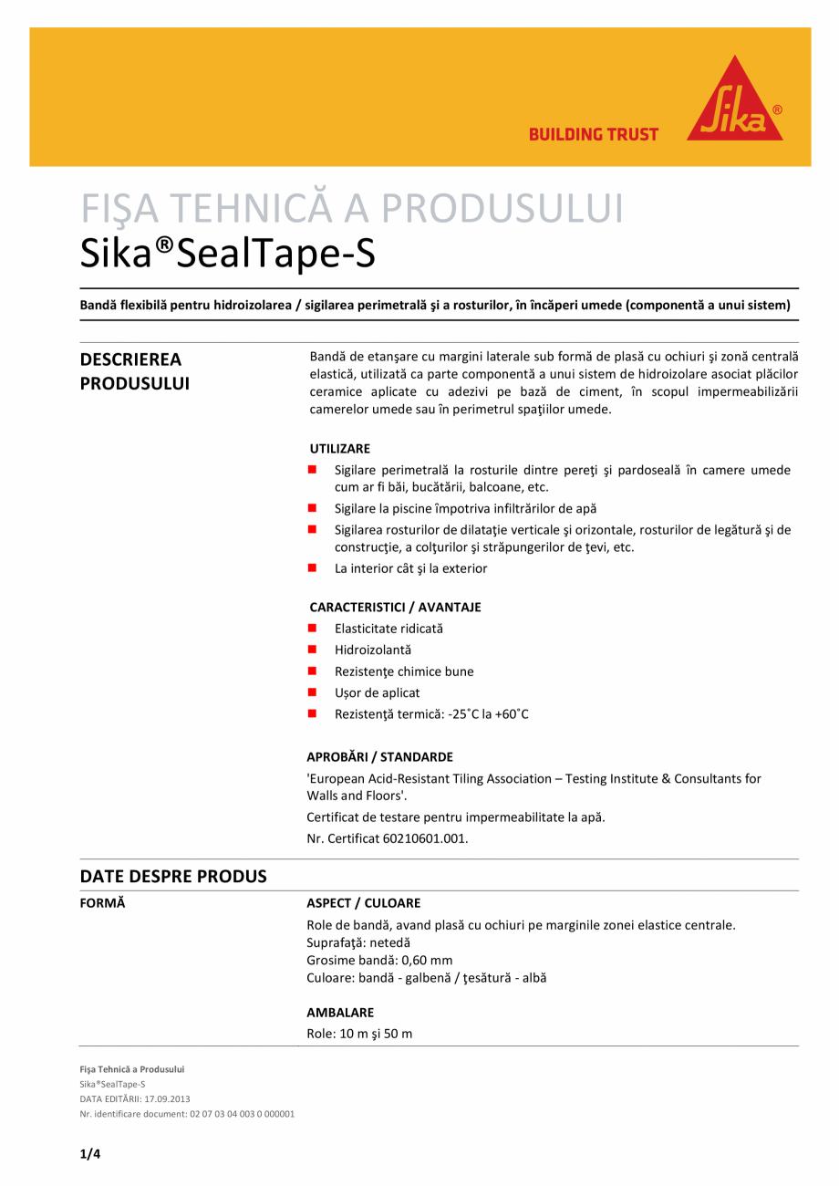 Pagina 1 - Banda flexibila pentru hidroizolarea / sigilarea perimetrala si a rosturilor, in incaperi...