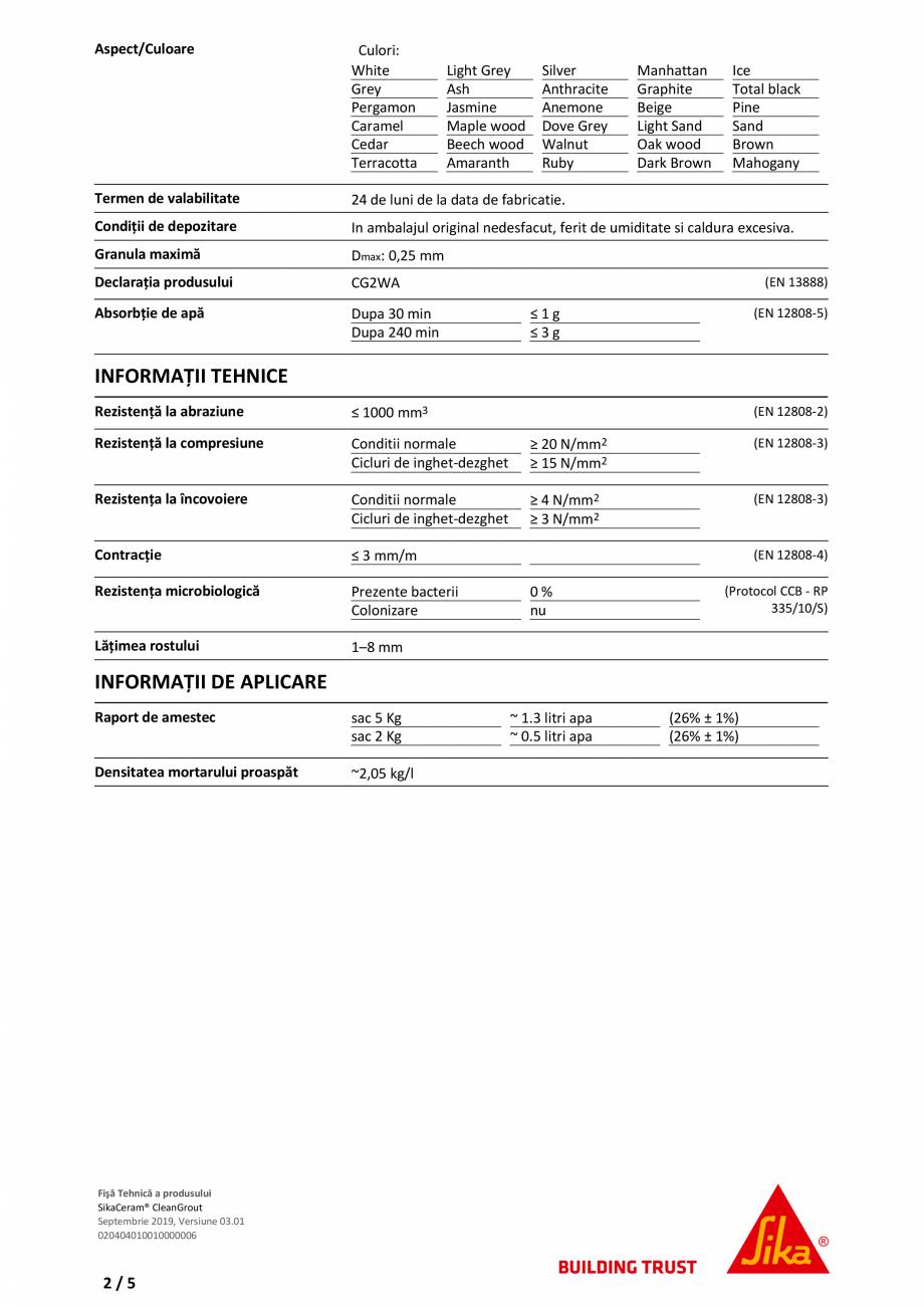 Fisa tehnica Chit flexibil pe baza de ciment Sika® Ceram CleanGrout SIKA Solutii si tehnologii pe baza de ciment pentru chituire rosturi SIKA Romania e de performanta: ▪ Piscine ▪ Pardoseli incalzite ▪ Zone comerciale/industriale/rezidentiale... - Pagina 2