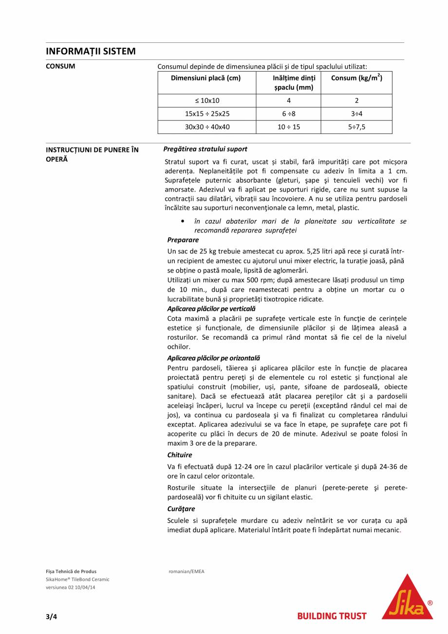 Pagina 3 - Adeziv standard pentru placari ceramice SIKA SikaHome® TileBond Ceramic Fisa tehnica ...