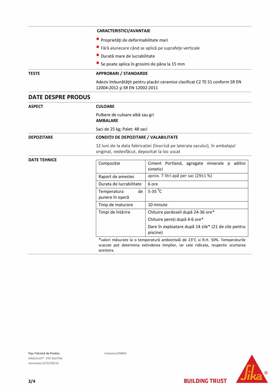 Pagina 2 - Adeziv flexibil si deformabil pe baza de ciment SIKA Sika® Ceram - 255 StarFlex Fisa ...