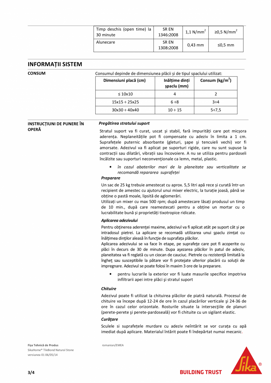 Pagina 3 - Adeziv pe baza de ciment pentru placari ceramice si piatra naturala SIKA SikaHome®...