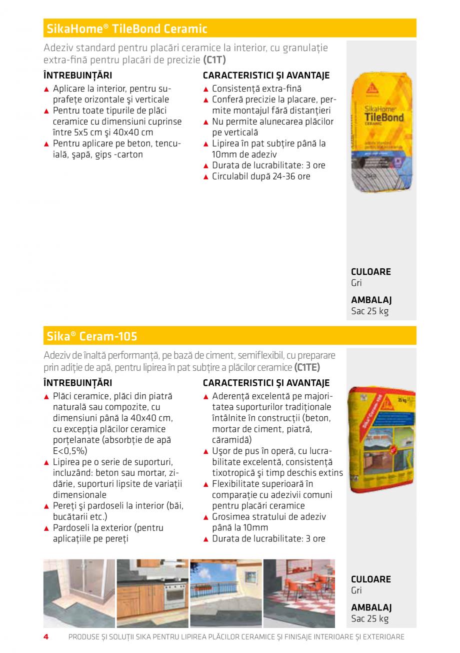 Pagina 4 - Produse si solutii pentru lipire placi ceramice sau finisaje interioare exterioare SIKA...