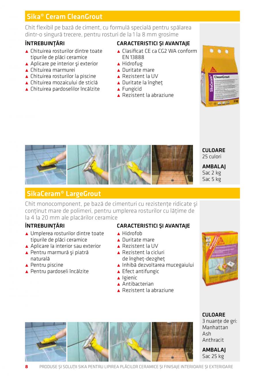 Pagina 8 - Produse si solutii pentru lipire placi ceramice sau finisaje interioare exterioare SIKA...