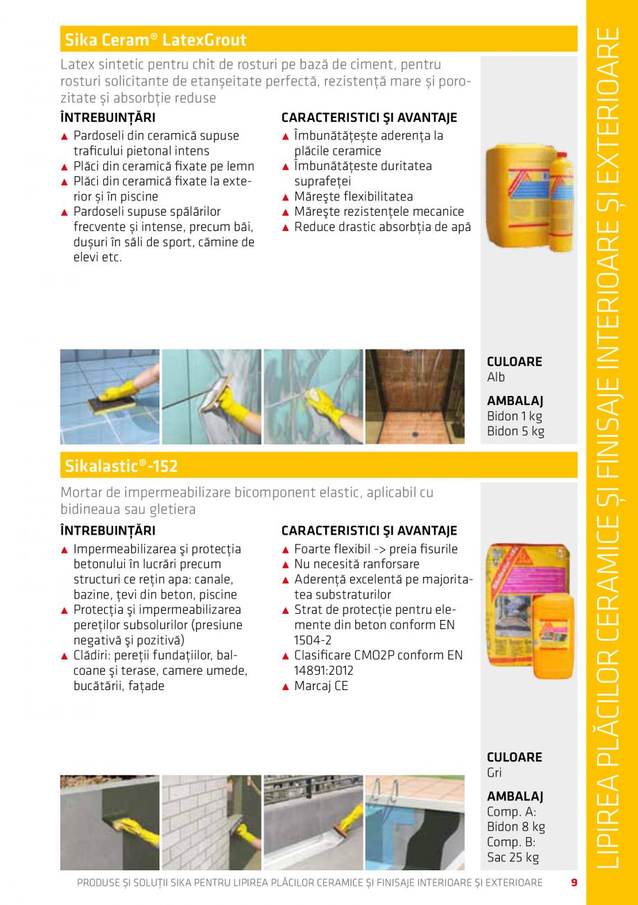 Pagina 9 - Produse si solutii pentru lipire placi ceramice sau finisaje interioare exterioare SIKA...