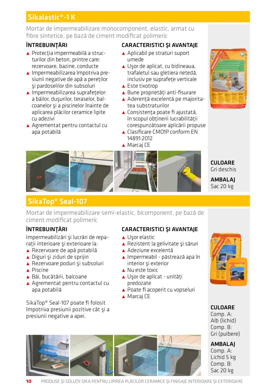 Pagina 10 - Produse si solutii pentru lipire placi ceramice sau finisaje interioare exterioare SIKA ...