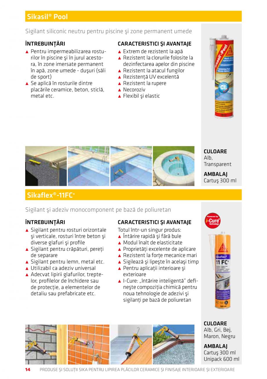 Pagina 14 - Produse si solutii pentru lipire placi ceramice sau finisaje interioare exterioare SIKA ...