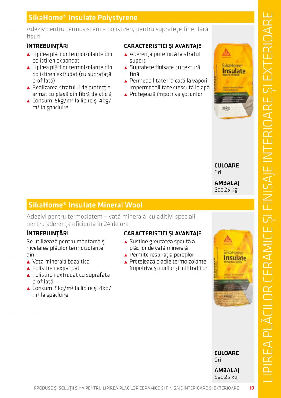 Pagina 17 - Produse si solutii pentru lipire placi ceramice sau finisaje interioare exterioare SIKA ...