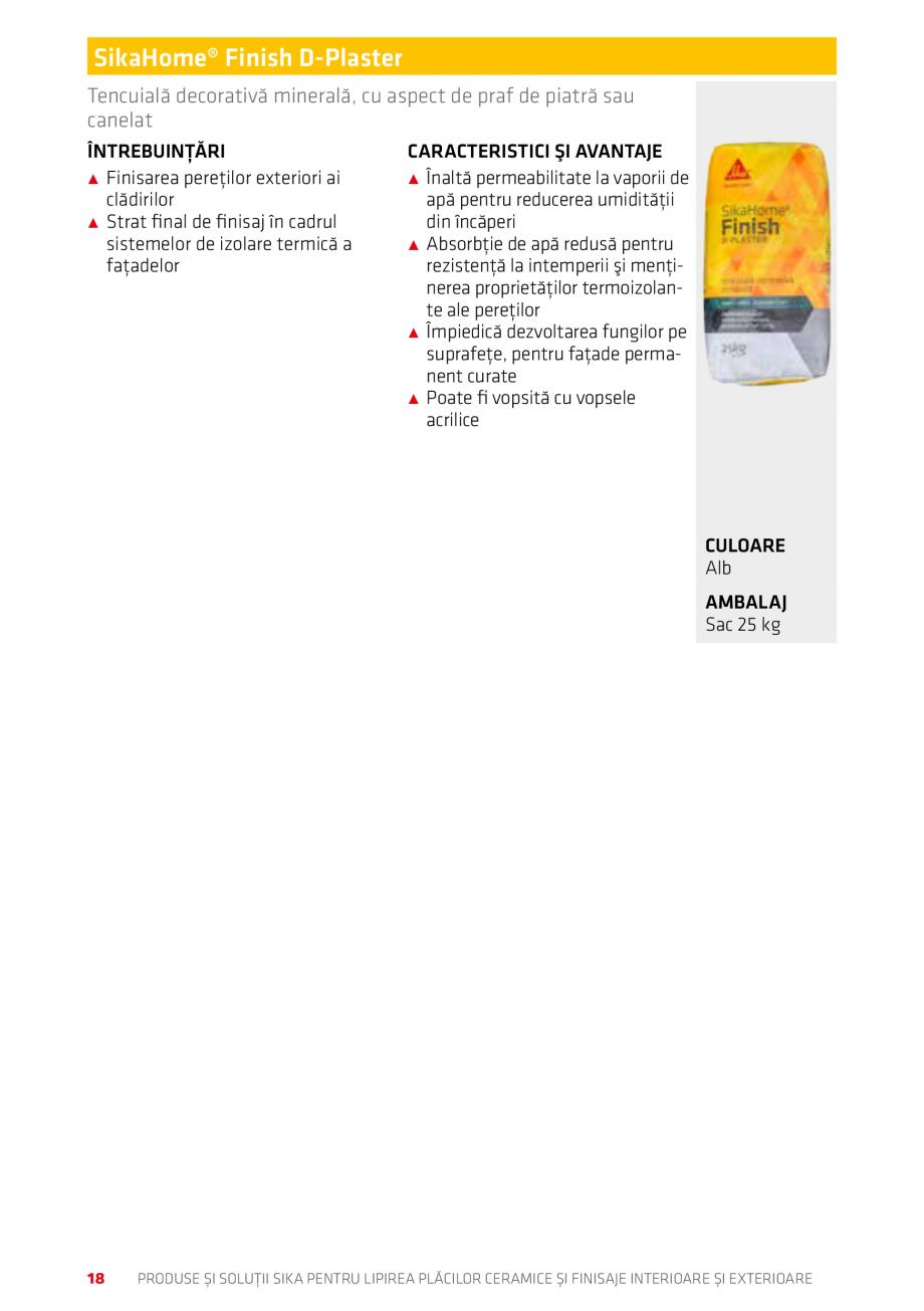 Pagina 18 - Produse si solutii pentru lipire placi ceramice sau finisaje interioare exterioare SIKA ...