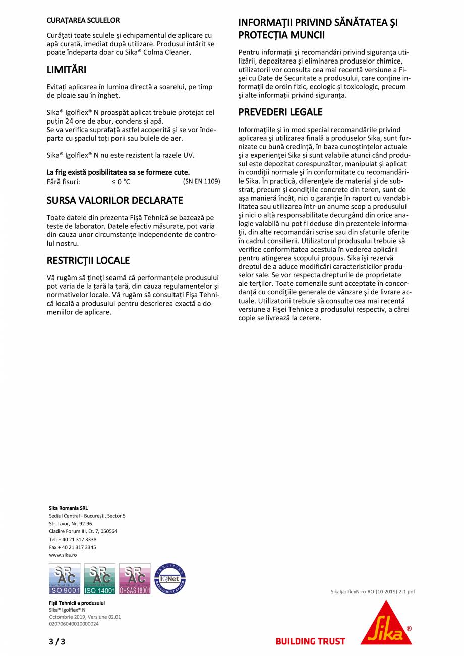 Pagina 3 - Masa de spaclu flexibila din bitum-cauciuc SIKA Sika® Igolflex® N Fisa tehnica...