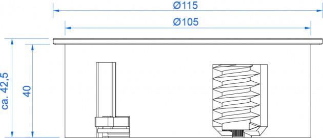 Schiță dimensiuni Unitatea de prize TWIST