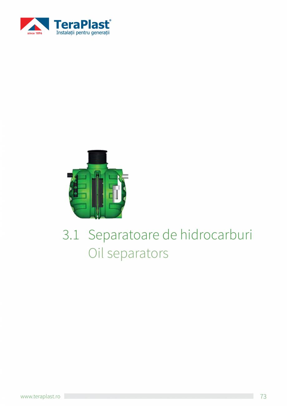 Pagina 1 - Separatoare de hidrocarburi TeraPlast Catalog, brosura Romana, Engleza 3.1 S  eparatoare...