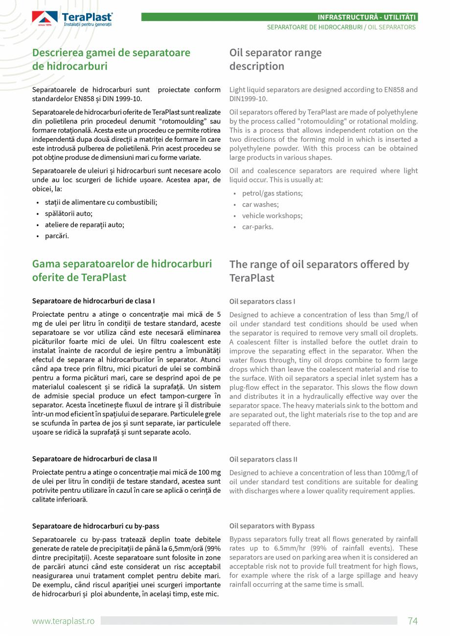 Pagina 2 - Separatoare de hidrocarburi TeraPlast Catalog, brosura Romana, Engleza ich is inserted a ...